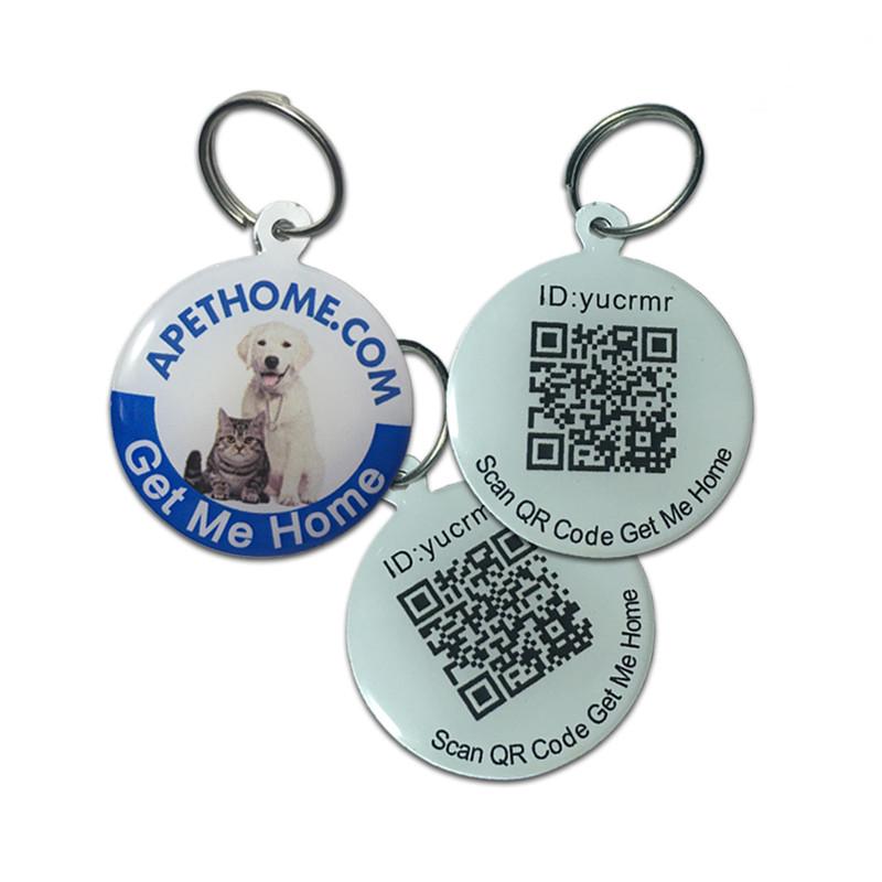 Személyre szabott kutya címkék és macska címkék rozsdamentes acél intelligens kisállat azonosító címke QR kód beolvasott GPS hely