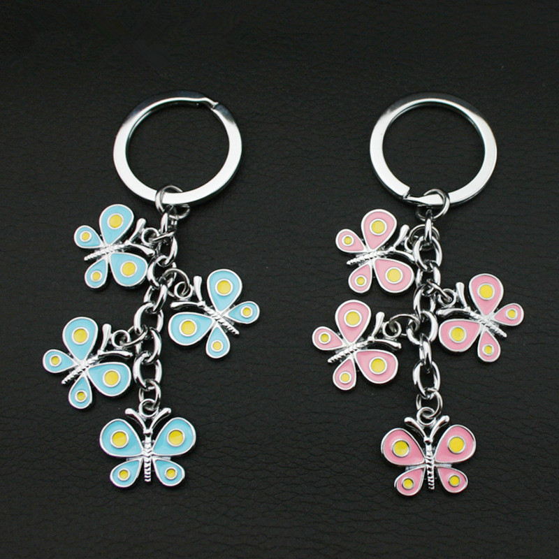 Pillangó alakú kulcstartó testreszabott cink ötvözet kulcstartó lógó díszek az ember vagy női táskák számára