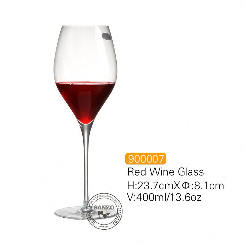 SANZO fekete szárú Lismore léggömbös borospohár kézzel készített ólommentes kristály gravírozott szemüveg vastag szemüveg